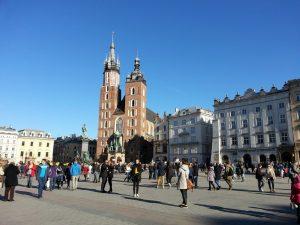 Marktplatz, Marienkirche in Krakau